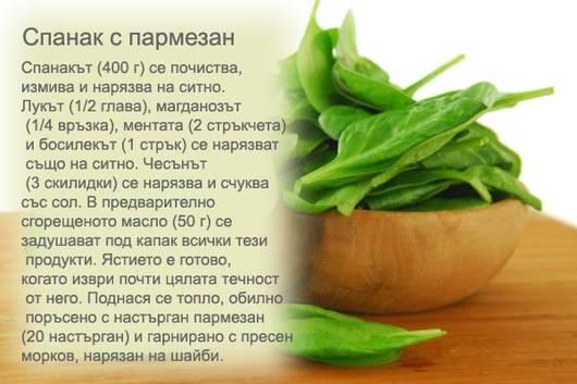 Рецепта за спанак с пармезан